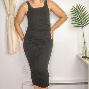 NWT Good American Black Ruched Midi Tank Dress